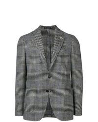Blazer de lana de tartán gris de Lardini