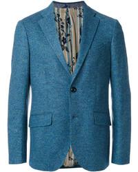Blazer de lana en verde azulado de Etro