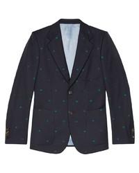 Blazer de lana estampado azul marino de Gucci