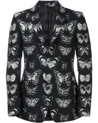 Blazer de Lana Estampado Negro de Alexander McQueen
