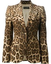 Blazer de leopardo marrón claro de Dolce & Gabbana