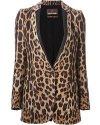 Blazer de leopardo marrón claro de Roberto Cavalli