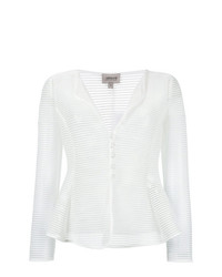 Blazer de rayas horizontales blanco de Armani Collezioni