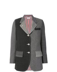 Blazer de rayas verticales en gris oscuro de Thom Browne