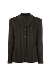 Blazer de rayas verticales en marrón oscuro de Romeo Gigli Vintage