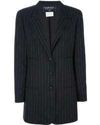 Blazer de rayas verticales negro de Chanel