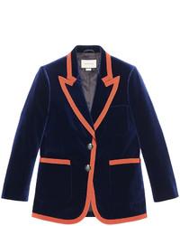 Blazer de seda azul marino de Gucci
