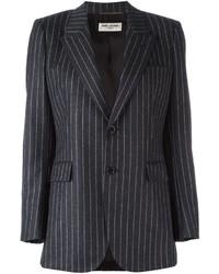 Blazer de seda de rayas verticales en gris oscuro de Saint Laurent