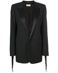 Blazer de seda сon flecos negro de Saint Laurent