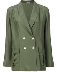 Blazer de seda verde oliva de P.A.R.O.S.H.