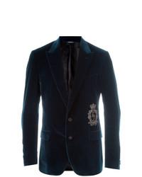 Blazer de terciopelo azul marino de Dolce & Gabbana