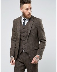 Blazer de tweed de espiguilla marrón