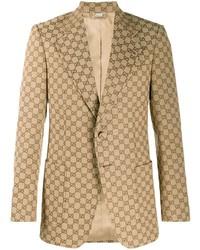 Blazer estampado marrón claro de Gucci