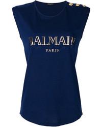 Blusa azul marino de Balmain