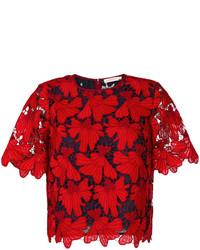 Blusa con print de flores roja de Tory Burch