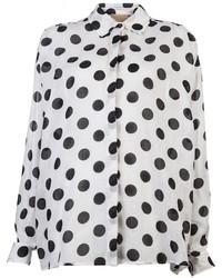 Blusa de botones a lunares en blanco y negro de Lanvin