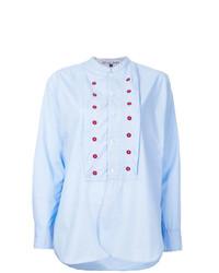 Blusa de botones bordada celeste de Jupe By Jackie