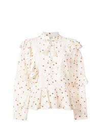 Blusa de botones con print de flores blanca de Sea