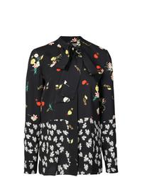 Blusa de botones con print de flores negra de Derek Lam