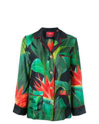 Blusa de botones con print de flores verde oscuro
