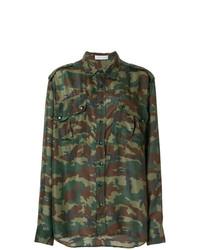 Blusa de botones de camuflaje verde oliva de Faith Connexion