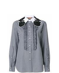 Blusa de botones de cuadro vichy negra de N°21