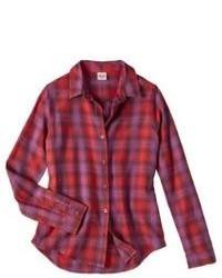 Blusa de botones de cuadro vichy roja