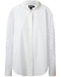 Blusa de botones de encaje blanca de DKNY