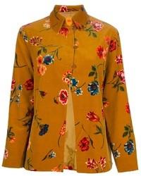 Blusa de Botones de Flores Amarilla
