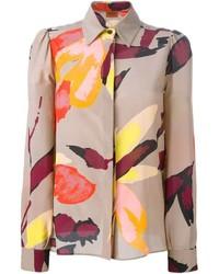 Blusa de Botones de Flores Beige de Missoni