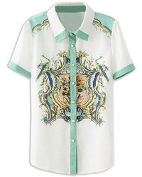 Blusa de Botones de Flores Blanca