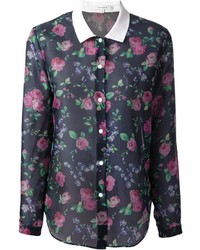 Blusa de Botones de Flores Negra de Carven