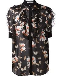 Blusa de Botones de Flores Negra de Givenchy