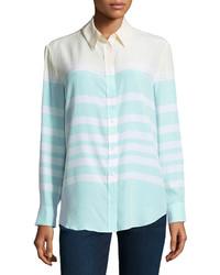 Blusa de botones de rayas horizontales en verde menta