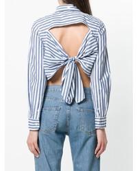 Blusa de botones de rayas verticales en blanco y azul de Current/Elliott