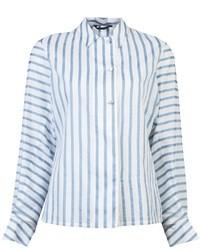 Blusa de botones de rayas verticales en blanco y azul de The Row