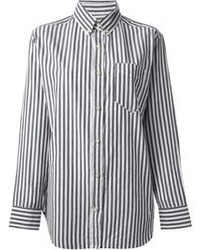 Blusa de botones de rayas verticales en blanco y negro de Isabel Marant