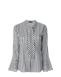 Blusa de botones de rayas verticales en negro y blanco de Etro