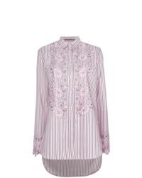 Blusa de botones de rayas verticales rosada de Ermanno Scervino