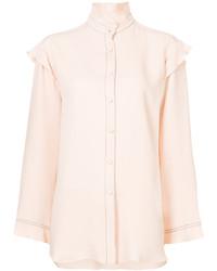 Blusa de botones de seda con volante rosada de Derek Lam