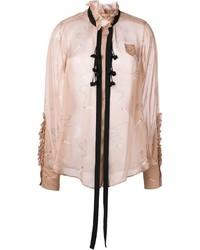 Blusa de botones de seda con volante rosada de No.21