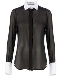 Blusa de botones de seda en negro y blanco de Valentino