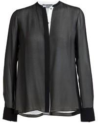 Blusa de Botones de Seda Negra de Vince
