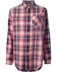 Blusa de botones de tartán en rojo y azul marino de Current/Elliott