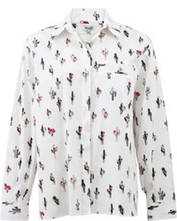 Blusa de Botones Estampada Blanca