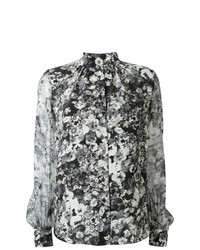Blusa de Botones Estampada Blanca y Negra de Lanvin