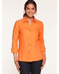 Blusa de botones ligera naranja