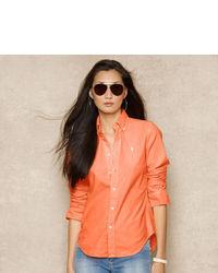 Blusa de botones naranja