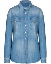 d3c459d1ed Comprar una blusa de botones vaquera azul  elegir blusas de botones ...