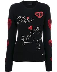 Blusa de cuero con adornos negra de Philipp Plein